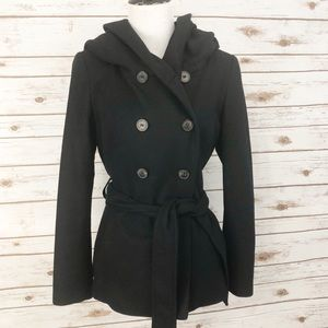 Zara Basic Black Wool Coat sz M